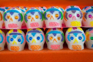 Sugar skull candies range in intricacy.